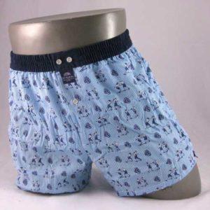 Lichtblauwe boxershort met vintage boksers als opdruk.