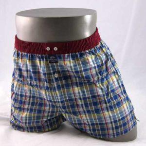 Boxershort van McAlson in ruit met bordeaux kleurige band.