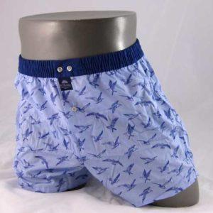 blauwe, wijde boxershort bedrukt met vogels van het merk McAlson