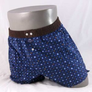 blauwe, wijde boxershort van het merk McAlson met donkerbruine band.
