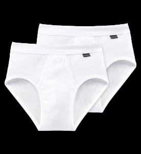 Schiesser heren Sportslip 2-pack met voorsluiting - cotton feinripp-wit