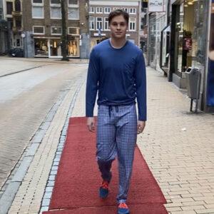 Mey heren pyjama/loungebroek- lichtblauw wit ruit