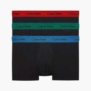 Calvin klein 3-pack boxers 'low rise trunk'- bzp met rode, groene en blauwe boord