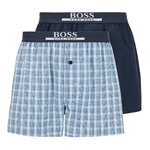 2-pack wijde boxershorts Hugo Boss lichtblauw ruit