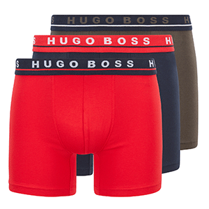 3-pack Hugo Boss Boxer briefs in rood, blauw en kaky