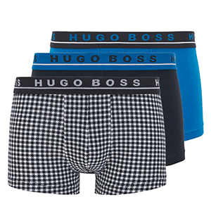 hugo boss 3-pack trunks blauw ruit
