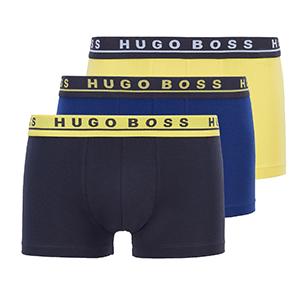 hugo boss 3-pack trunks zwart blauw geel