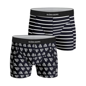 Björn Borg Pyramid/Stripes 2-pack boxershorts - Blauw
