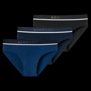 Schiesser heren slips 3-pack 95/5 stretch cotton - blauw-zwart