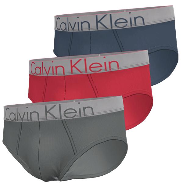 Calvin-Klein heren 3-pack slips-grey/red/blue/silver